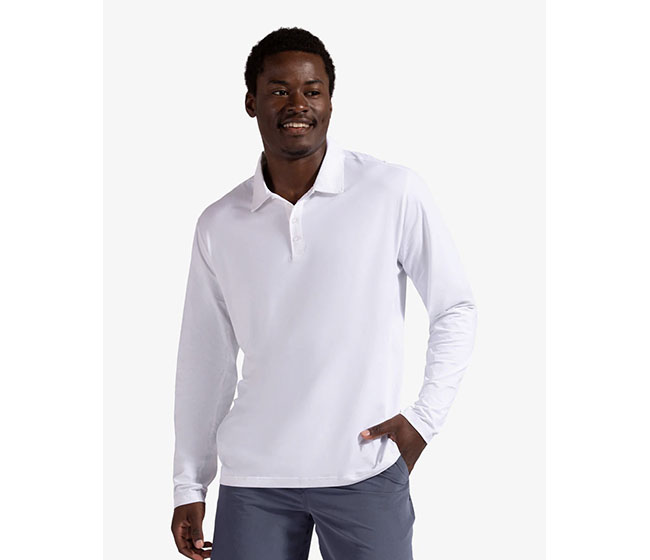 BloqUV Long Sleeve Polo (M) (White)